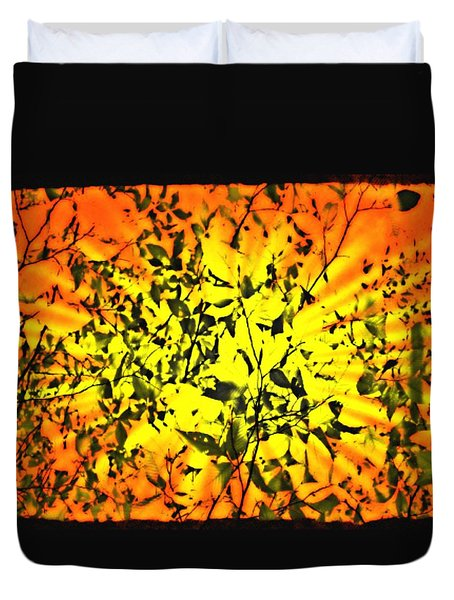 Duvet Cover featuring the photograph Sun Dappled Leaves by Robin Regan