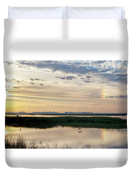Duvet Cover featuring the photograph Sun Dog And Herons by Rob Graham