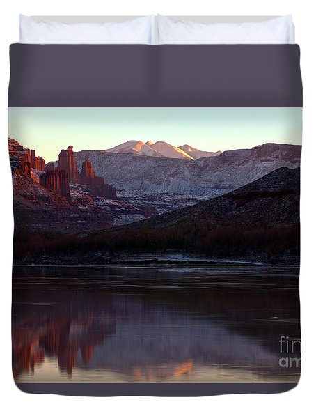 Duvet Cover featuring the photograph Sun Down At Fisher Towers by Adam Jewell