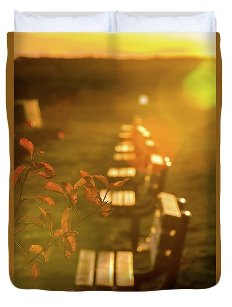 Sun Drenched Bench Duvet Cover