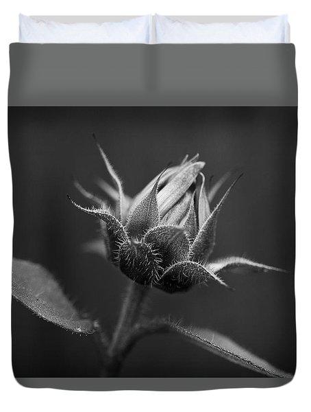 Sun Flower Blossom Bw Duvet Cover