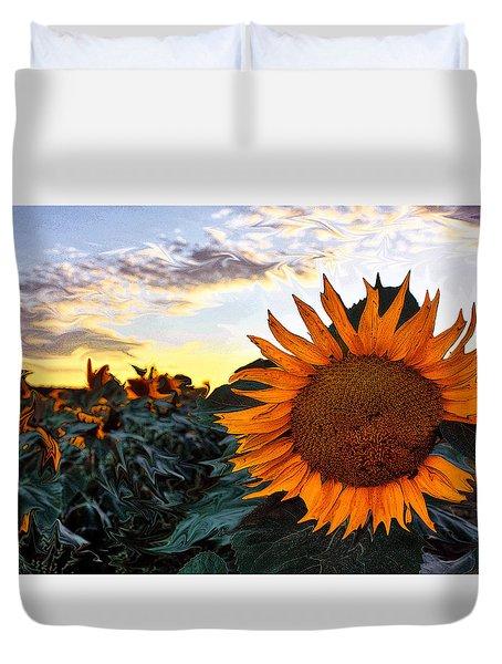 Sun Flower Liquid. Duvet Cover