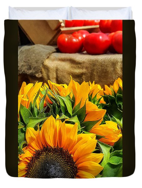 Duvet Cover featuring the photograph Sun Flowers And Tomatoes by Bruce Carpenter