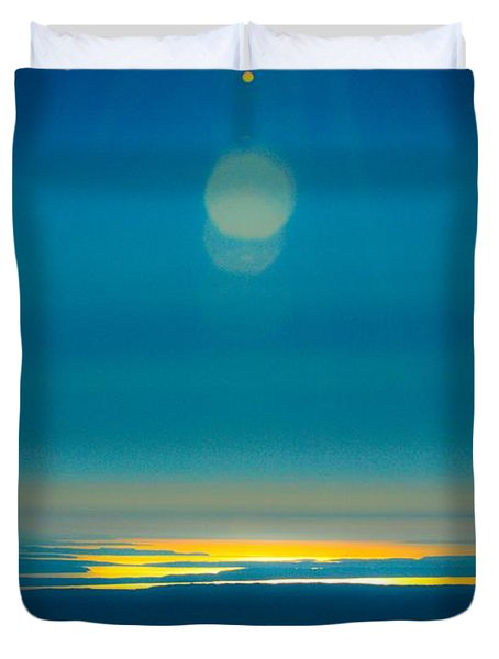 Sun Going Down On The Sound Duvet Cover