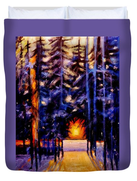 Duvet Cover featuring the painting Sun Kiss..2 by Cristina Mihailescu