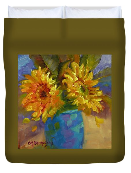 Duvet Cover featuring the painting Sun Kissed by Chris Brandley