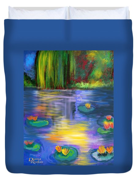 Sun Kissed Lily Pond Duvet Cover