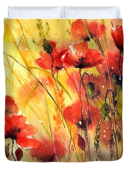 Sun Kissed Poppies Duvet Cover