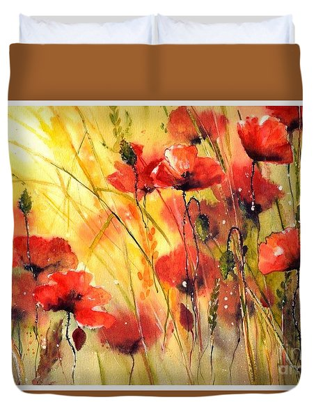 Sun Kissed Poppies Duvet Cover