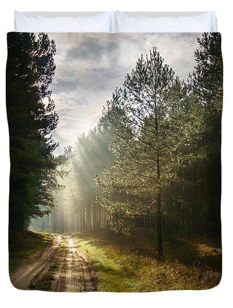 Sun Light At Pine Forest Duvet Cover