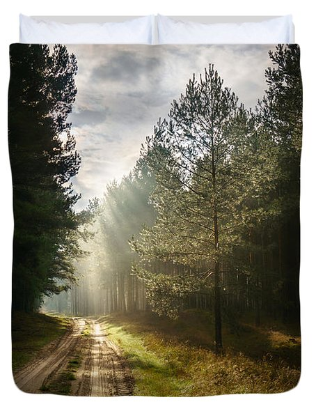 Sun Light At Pine Forest Duvet Cover by Dmytro Korol