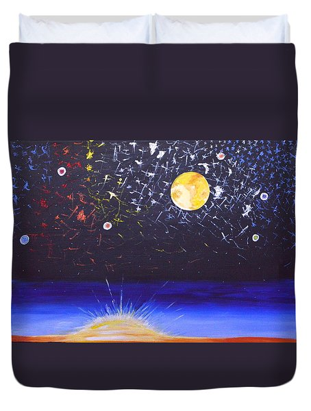 Sun Moon And Stars Duvet Cover