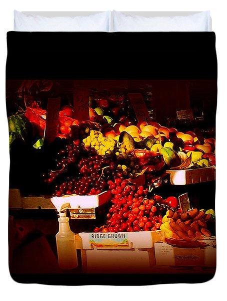 Sun On Fruit - Markets And Street Vendors Of New York City Duvet Cover by Miriam Danar