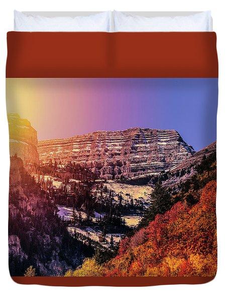 Sun On The Mountain Duvet Cover