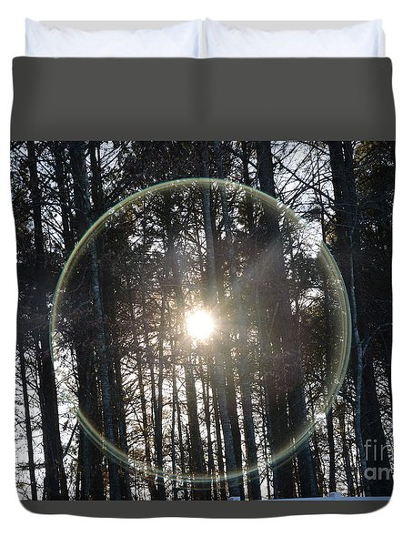 Sun Or Lens Flare In Between The Woods -georgia Duvet Cover