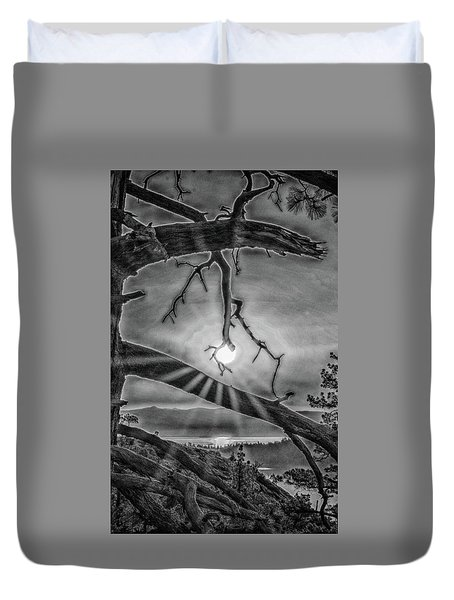Sun Ornament - Black And White Duvet Cover