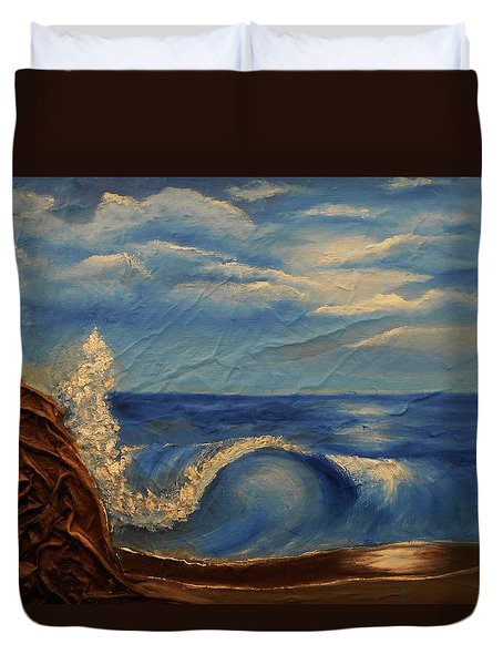 Sun Over The Ocean Duvet Cover by Angela Stout