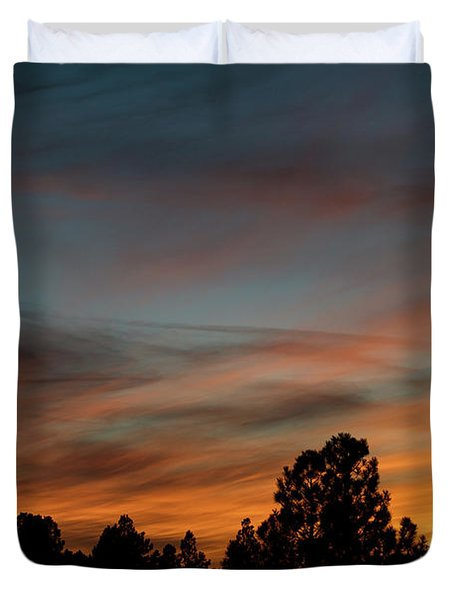 Sun Pillar Sunset Duvet Cover