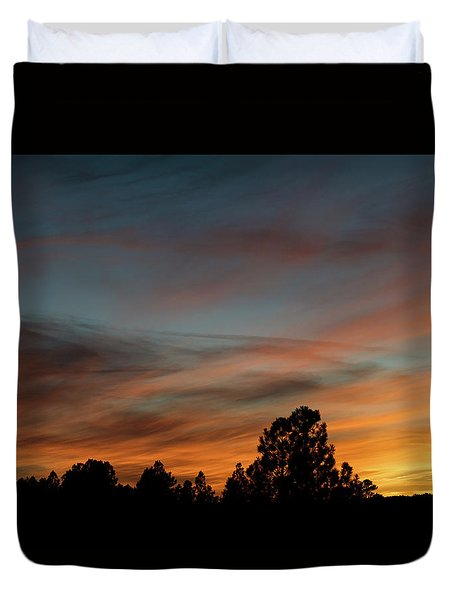 Sun Pillar Sunset Duvet Cover