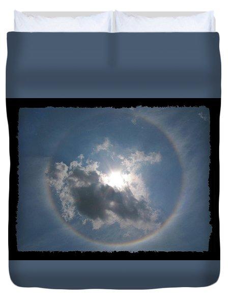 Sun Portal  A Rainbow Around The Sun With Black Border Duvet Cover by Adam Long
