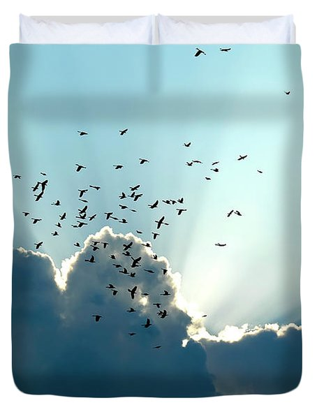 Duvet Cover featuring the photograph Sun Ray Aerobatics Blue Sky by Carolyn Marshall
