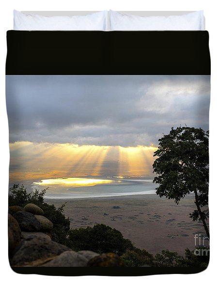 Duvet Cover featuring the photograph Sun Rays by Pravine Chester