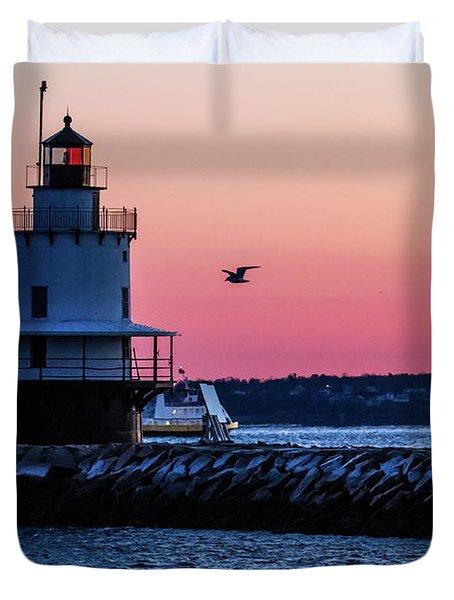 Sun Rise At Spring Point Duvet Cover