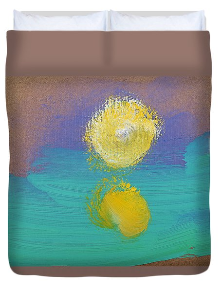 Duvet Cover featuring the painting Sun Rise by Charles Stuart