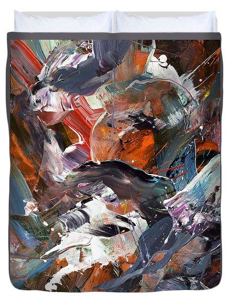 Sun Rising Abstract Duvet Cover by Erika Pochybova
