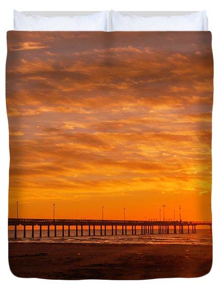 Sun Rising At Port Aransas Pier Duvet Cover