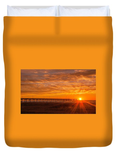Sun Rising At Port Aransas Pier Duvet Cover