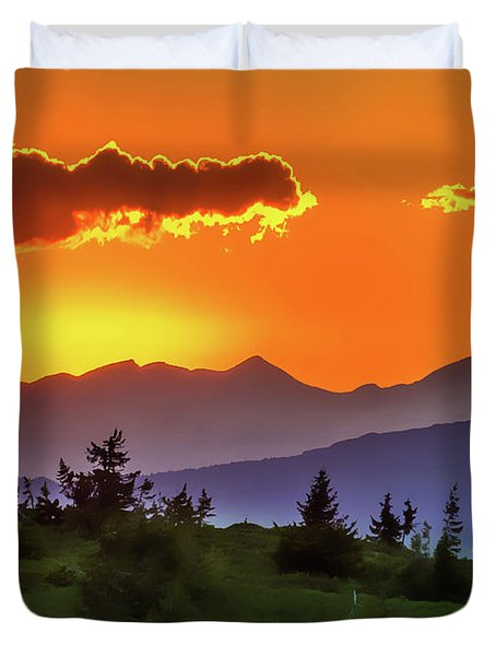 Duvet Cover featuring the painting Sun Rising by Harry Warrick