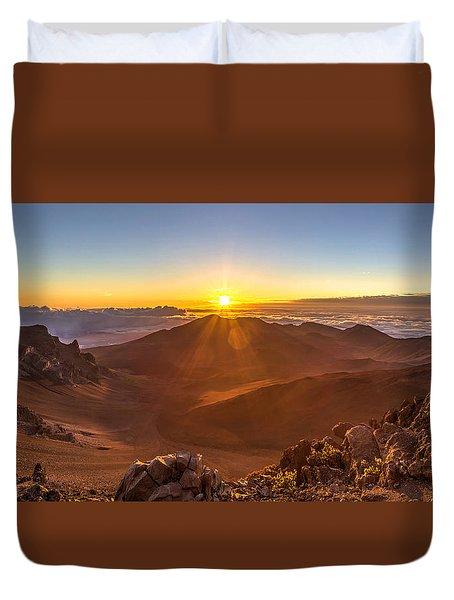 Sun Rising Mount Haleakala Duvet Cover
