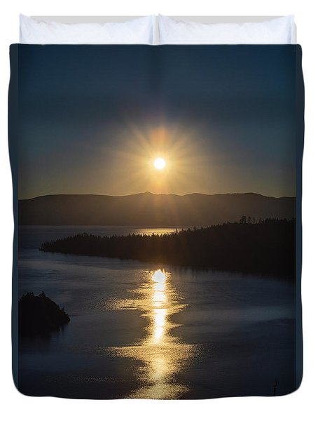 Sun Rising Over Lake Tahoe Duvet Cover