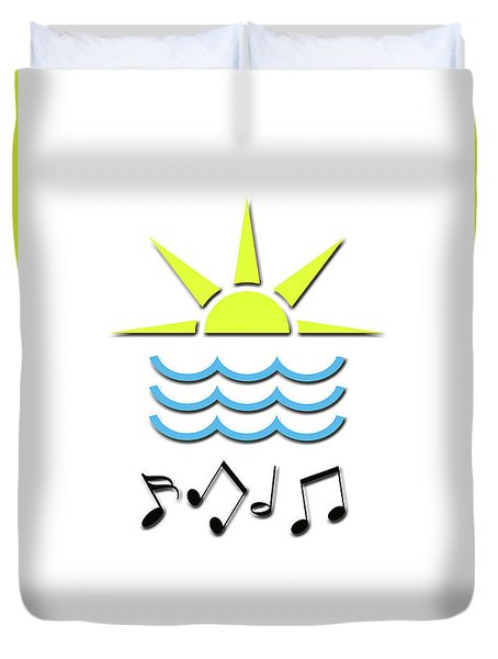 Sun, Sea And Music Duvet Cover