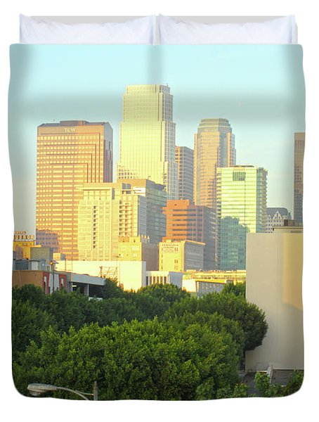 Sun Sets On Downtown Los Angeles Buildings #1 Duvet Cover