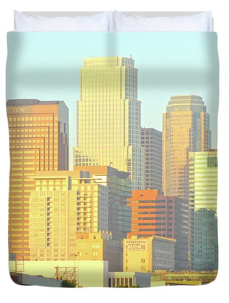Sun Sets On Downtown Los Angeles Buildings #2 Duvet Cover