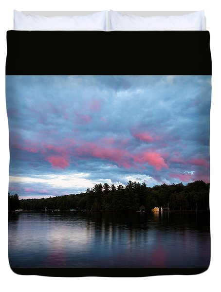 Sun Setting On Old Forge Pond Duvet Cover