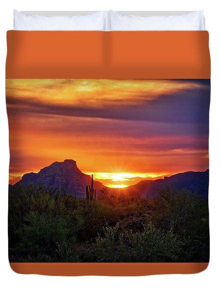 Duvet Cover featuring the photograph Sun Setting On Red Mountain  by Saija Lehtonen