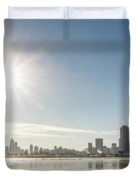 Sun Setting Over Chicago Duvet Cover