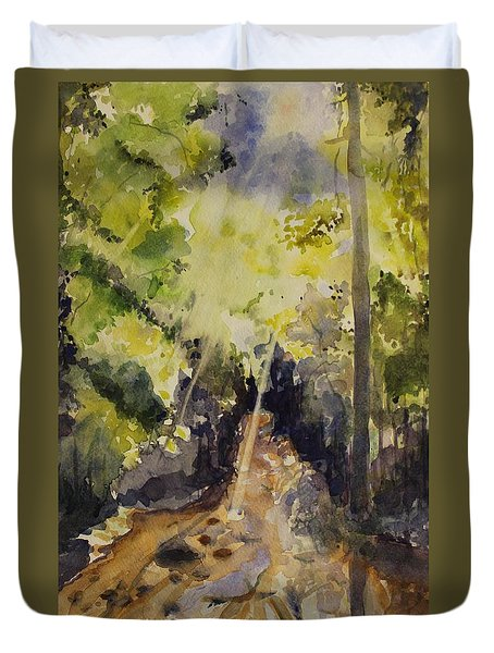 Duvet Cover featuring the painting Sun Shines Through by Geeta Biswas