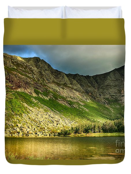 Sun Shining On Chimney Pond  Duvet Cover by Elizabeth Dow