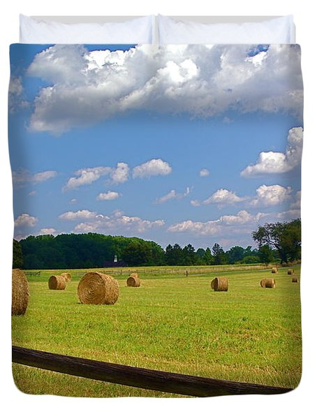 Duvet Cover featuring the photograph Sun Shone Hay Made by Byron Varvarigos