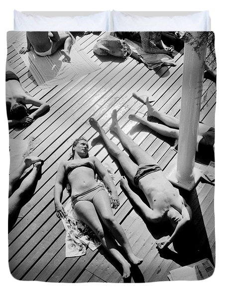 Sun Tanning At The Deligny Swimming Pool, Paris, June, 1963 Duvet Cover