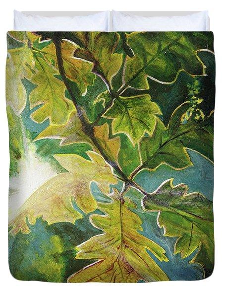 Sun Through Oak Leaves Duvet Cover