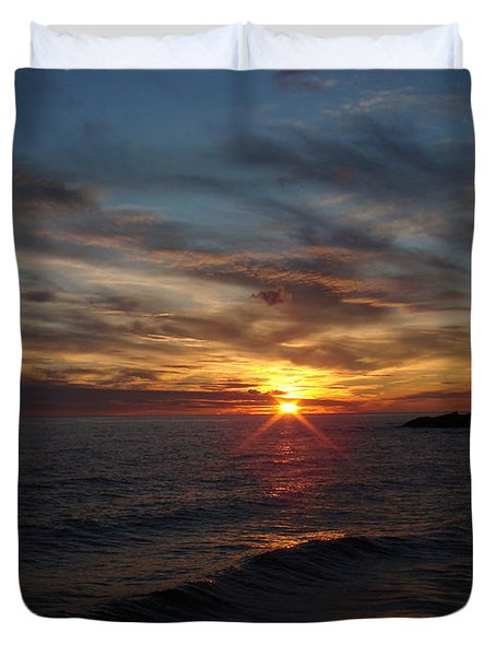 Duvet Cover featuring the photograph Sun Up by Bonfire Photography
