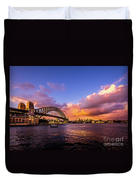 Duvet Cover featuring the photograph Sun Up by Perry Webster