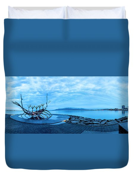 Sun Voyager Viking Ship In Iceland Duvet Cover
