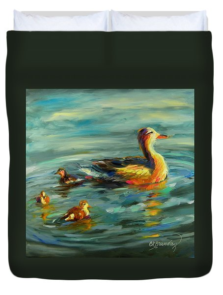Duvet Cover featuring the painting Ducksie Chicks by Chris Brandley