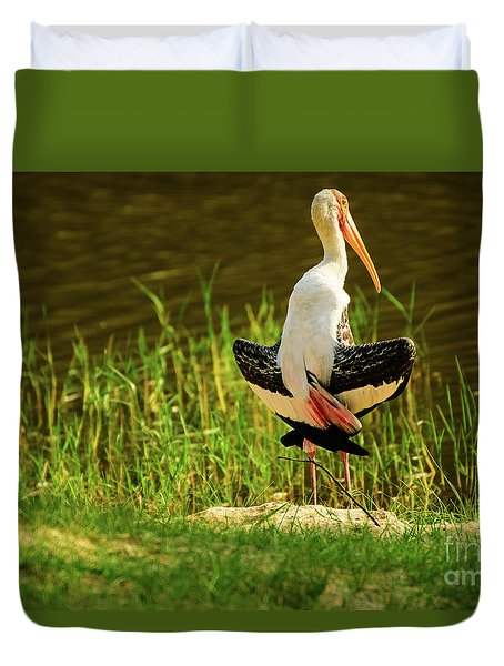 Sunbathing Delta-winged Painted Stork  Duvet Cover